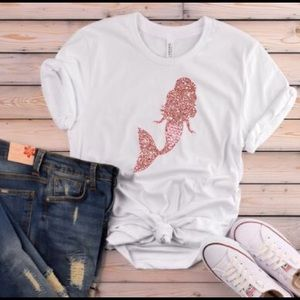 👚 Mermaid Glitter TShirt - Short Sleeve Tee - NEW